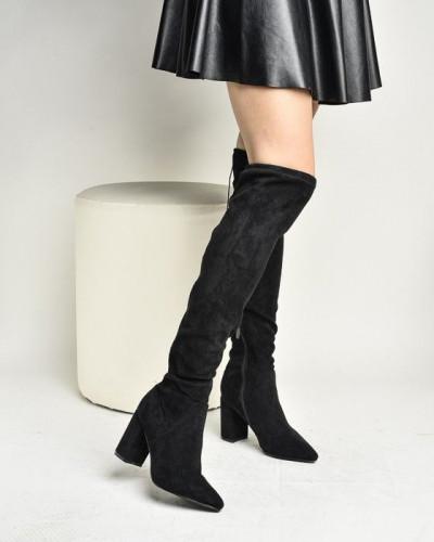 Čizme preko kolena na štiklu LX771920 crne
