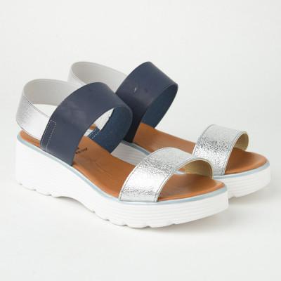 Italijanske sandale KLN07 srebrno-teget