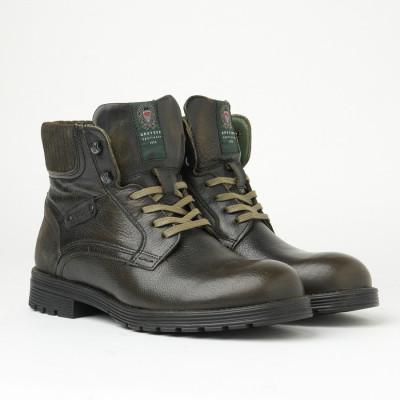 Kožne muške duboke cipele 5768 maslinaste