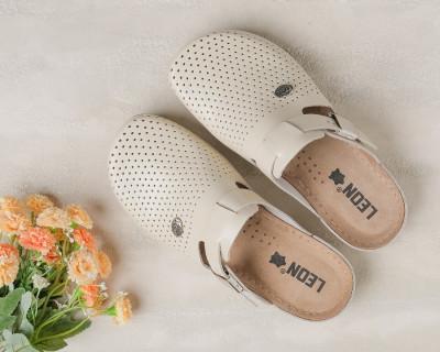 Kožne papuče/klompe 900 bež