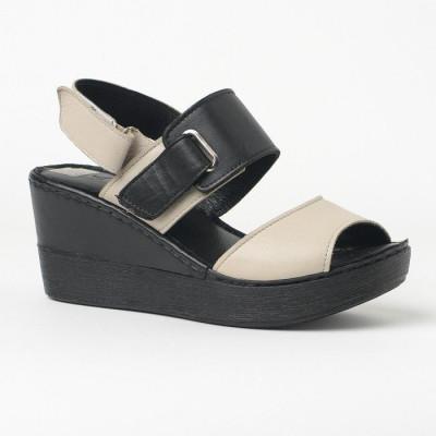 Kožne sandale na ortoped petu 1006 crno/bež
