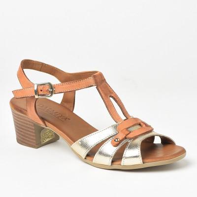 Kožne sandale na štiklu 106 zlatne