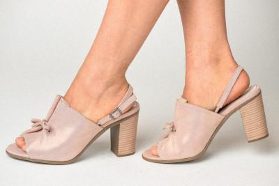 Kožne sandale na štiklu S3555 puder roze