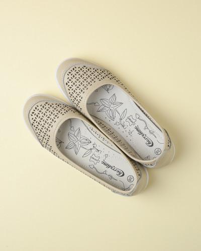 Kožne ženske cipele 2139 bež