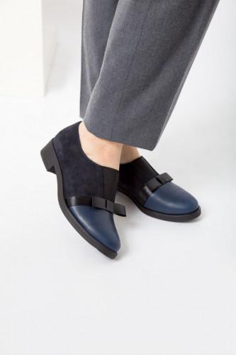 Kožne ženske cipele A11-33 crno/teget