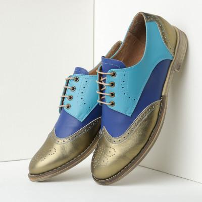 Kožne ženske cipele B15/36 plave/metalik