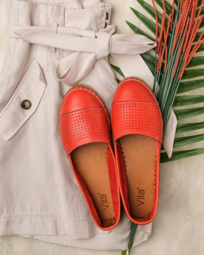 Kožne ženske espadrile V208-1/1126 koralno crvene
