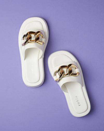 Ravne ženske papuče WL3083 bele