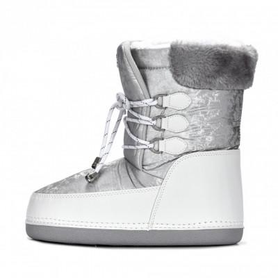 Tople ženske poluduboke čizme LH592001 belo-srebrne