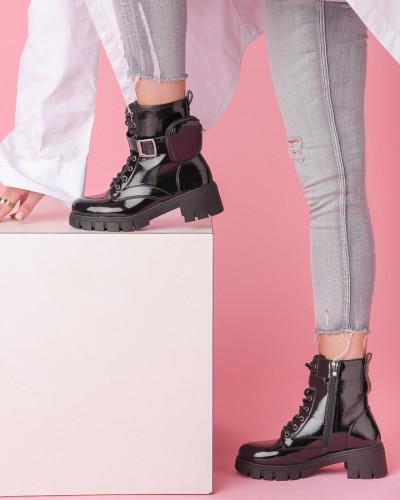 Ženske poluduboke čizme na debelom đonu ESL2008 crne