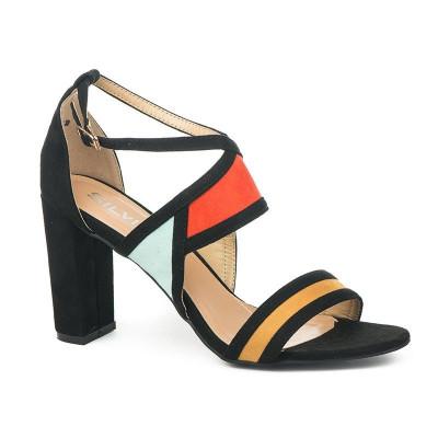 Ženske sandale na štiklu S8306 crne