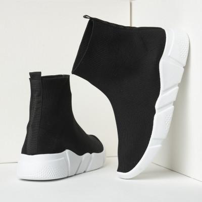 Čarape patike 42200 crne sa belim đonom