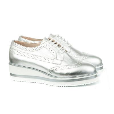 Kožne cipele na debelom đonu 2670 srebrne