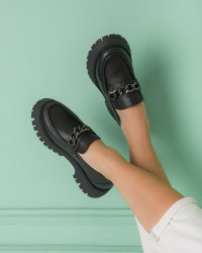Kožne cipele na debelom đonu ES202652-01 crne