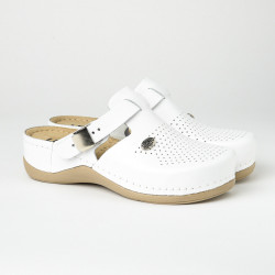 Kožne papuče/klompe 900 bele