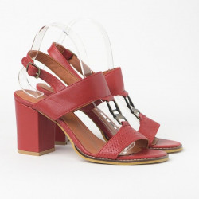 Kožne sandale na štiklu 2027 crvene