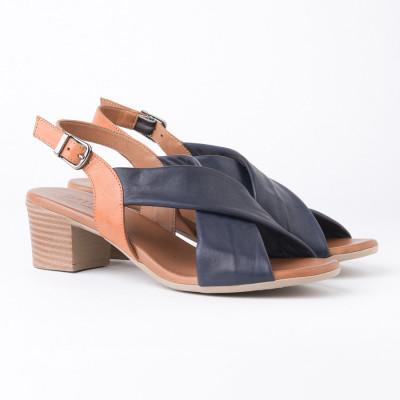 Kožne sandale na štiklu 803 teget