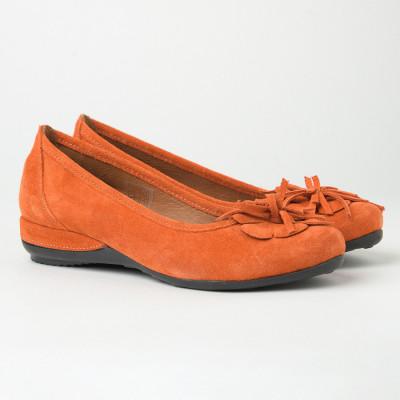 Kožne ženske baletanke 1236 narandžaste