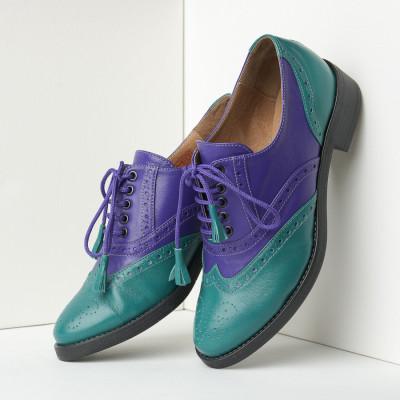 Kožne ženske cipele 302 ljubičasto zelene