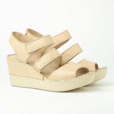 Kožne ženske sandale 1085 bež