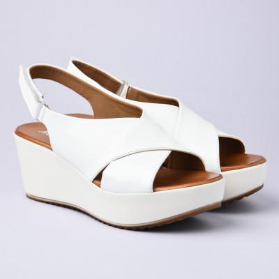 Kožne ženske sandale 276090 bele