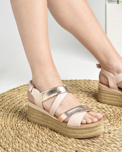 Kožne ženske sandale ALD1093 puder roze/zlatne