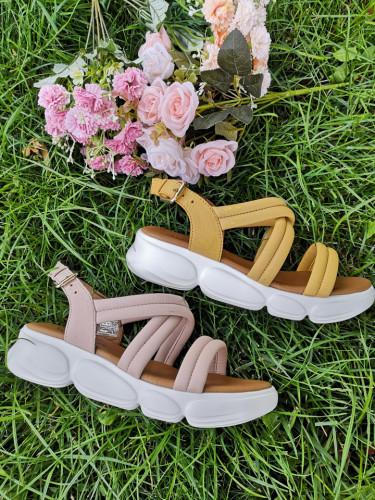 Kožne ženske sandale MS1083 žute