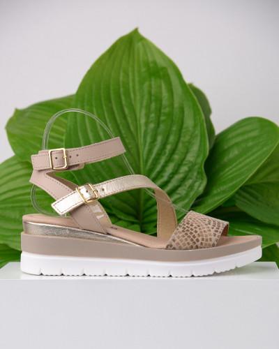 Kožne ženske sandale ZR04 bež sa printom