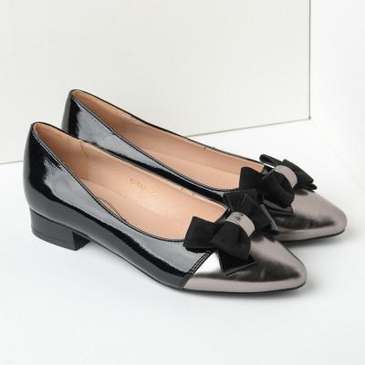 Lakovane cipele u špic C2119 crno srebrne