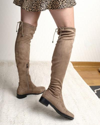 Ravne čizme preko kolena FD800 bež