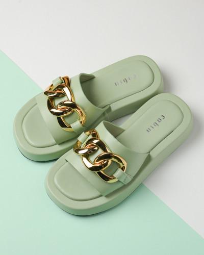 Ravne ženske papuče WL3083 zelene