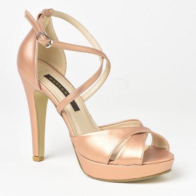 Sandale na štiklu 7559 bronzane
