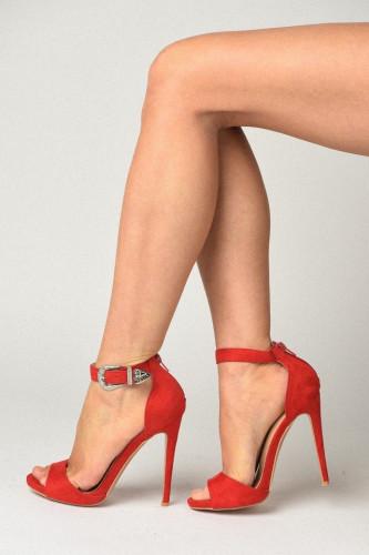 Sandale na štiklu LS91606 crvene