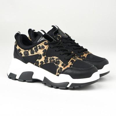 Ženske patike L96188 crne sa leopard detaljima