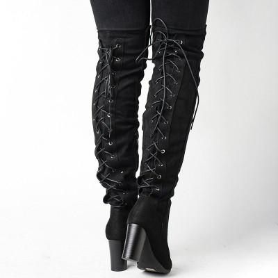 Čizme preko kolena na štiklu LX191832 crne