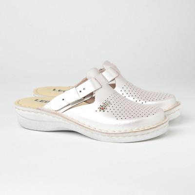 Kožne papuče/klompe V260 sedef