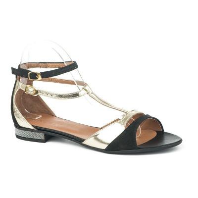Kožne ravne sandale 11-842 crno / zlatne