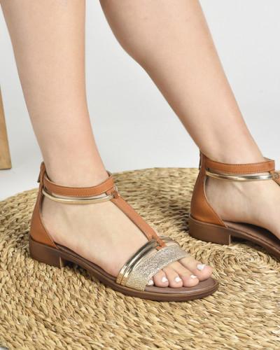 Kožne ravne sandale 221070 kamel