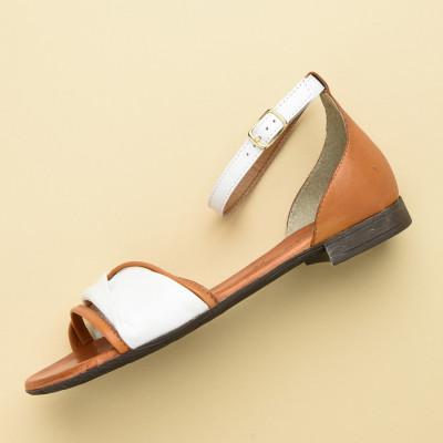 Kožne ravne sandale 225170 bele