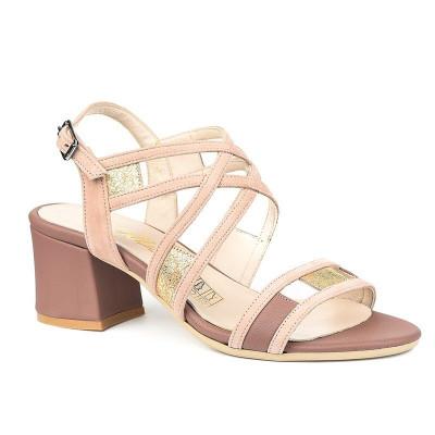 Kožne sandale na škilu 9-990 roze/zlatne