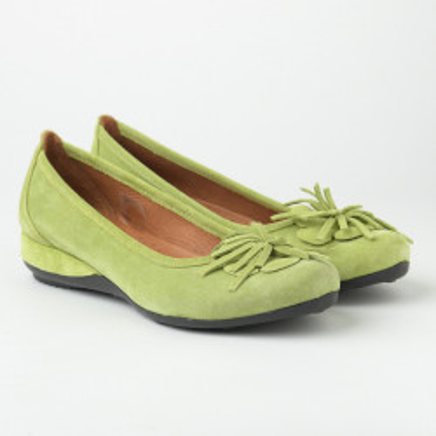 Kožne ženske baletanke 1236 svetlo zelene