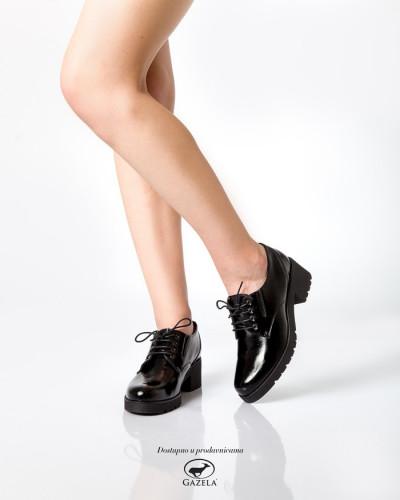 Kožne ženske cipele 655005 crne/sjaj