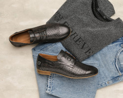 Kožne ženske cipele na pertlanje H2201/3187 crne
