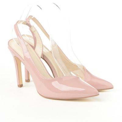 Lakovane sandale na štiklu CA67 puder roze