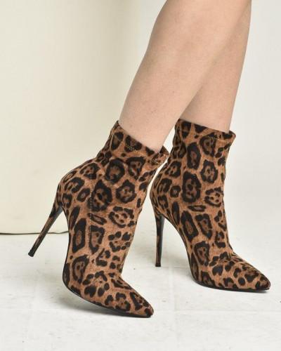 Poluduboke čizme na štiklu T-63255 leopard print
