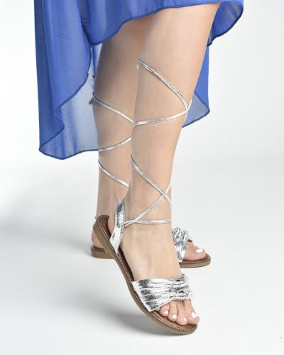 Ravne sandale LS272006 srebrne