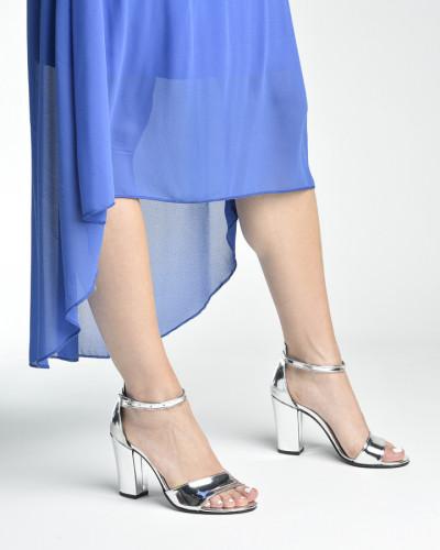 Sandale na deblju petu 27 srebrne