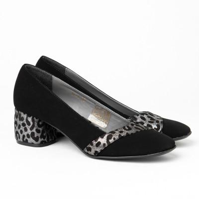 Ženske cipele A15-41/12 crne sa lepoard detaljima