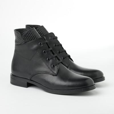 Ženske kožne poluduboke cipele 91113 crne