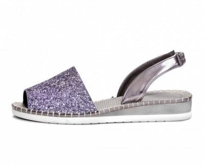 Ženske sandale sa šljokicama LS061901 tamno srebrne